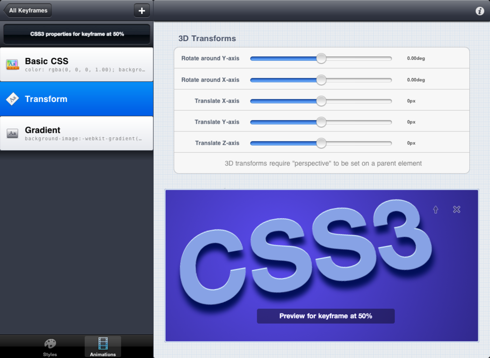 When creating WebKit animations, CSS3Machine shows you a preview of the keyframe you're currently editing.